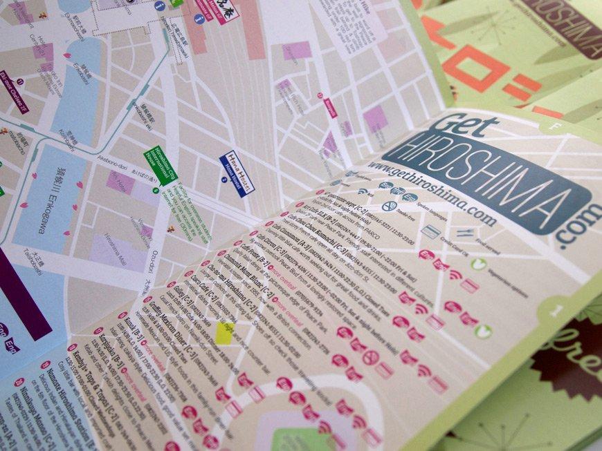 Carte GetHiroshima 2014 liste de restaurants