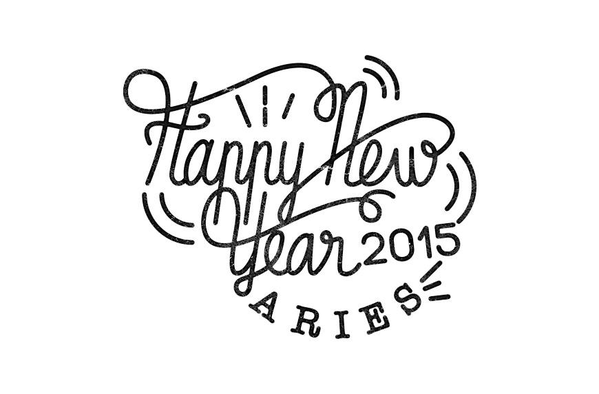 Carte de voeux Nininbaori pour l'année 2015 hand lettering