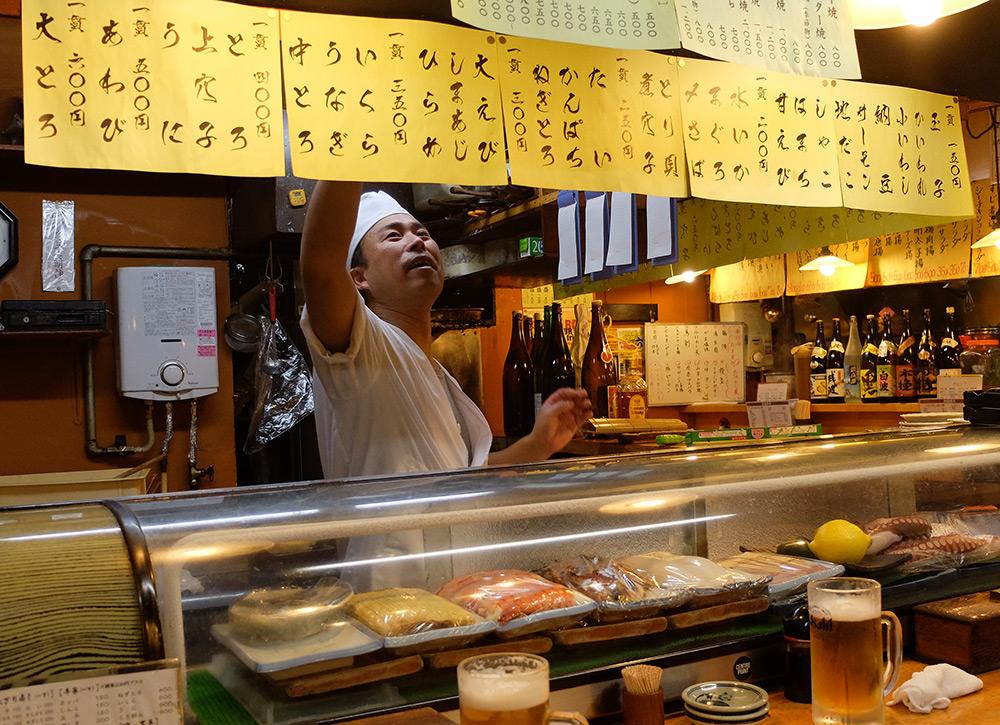 nonki stand de sushi à Ganko Yatai Hirishima