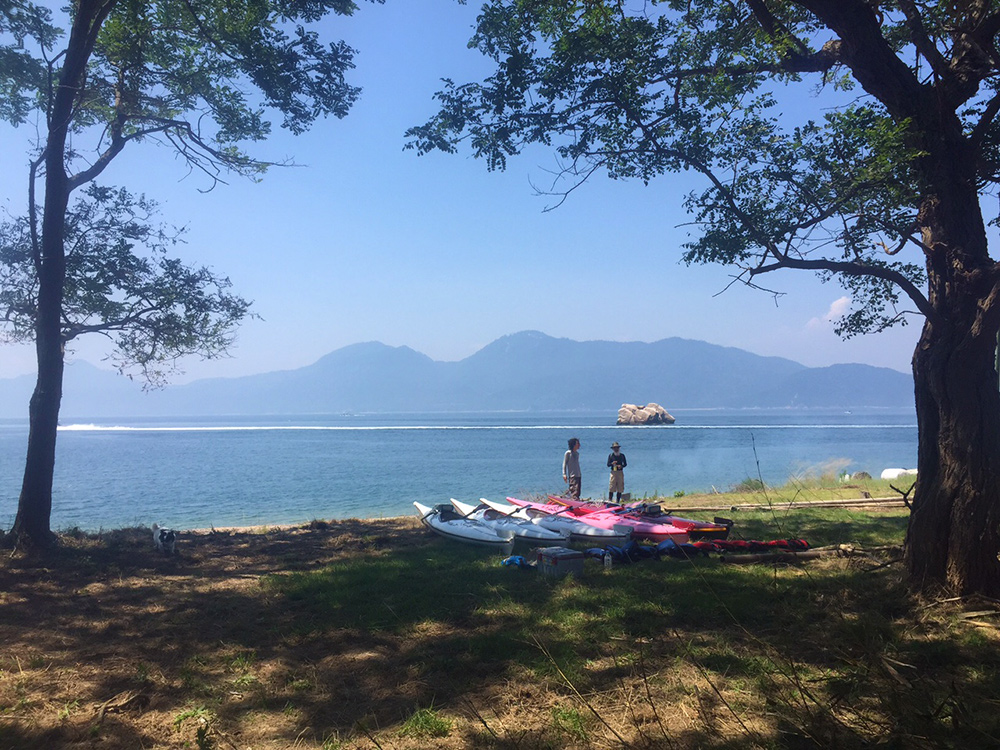 Camp à Ganne Moon beach, île d'Etajima