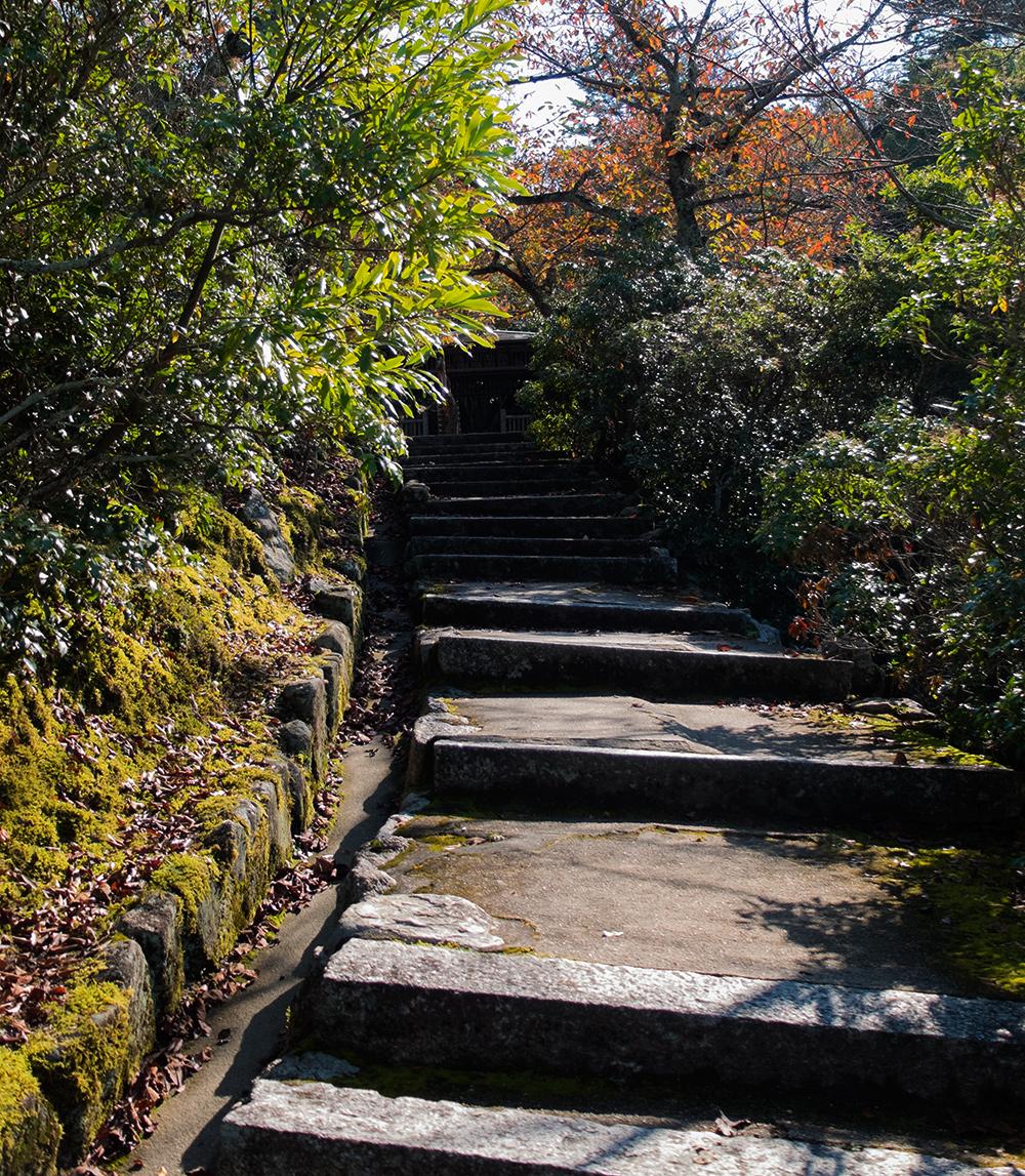 Escaliers menant à la pagode Tahōtō 多宝塔