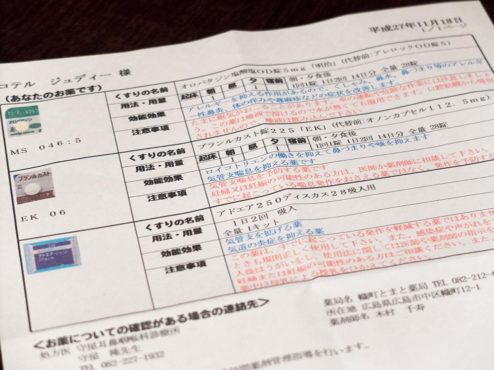 Le document récapitulatif des médicaments à prendre, Japon