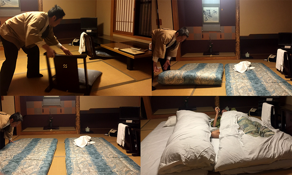 Installation des futons au ryokan