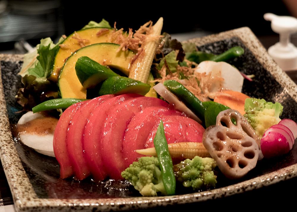 Délicieuse salade à Shokudō Shimizu, Kyoto