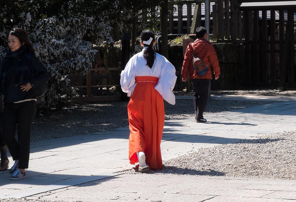 Une miko (巫女) pressée au Snactuaire d'Izumo Taisha