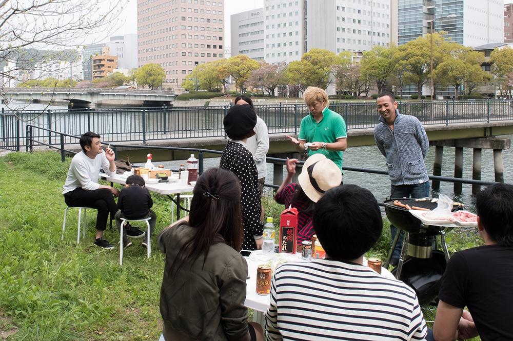 barbecue sur les bords de rivière, Hiroshima