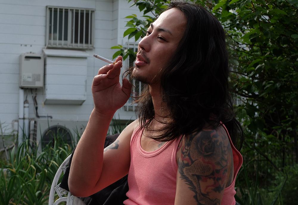 Shuji, Hiroshima, Japonais tatoué, japonais cheveux longs