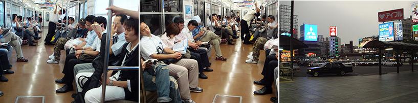 J'ai pu constater que les Japonais qui dorment dans le train ce n'était pas un mythe - respect au mec qui dort pendu à la poignée