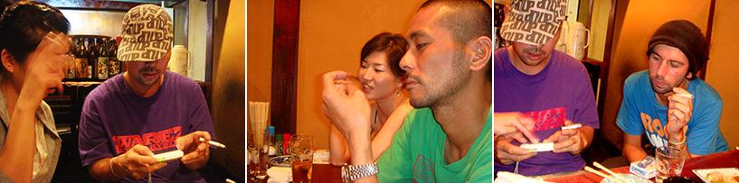 On a l'air sérieux comme ça mais on a passé la soirée à s'apprendre des phrases cochonnes en français et en japonais et à se filmer