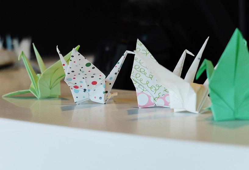 Grues en origami orizuru