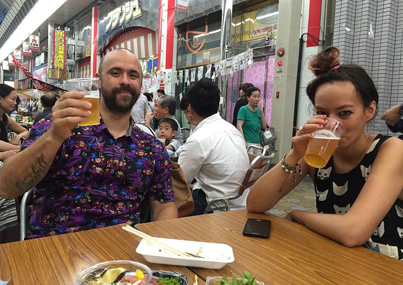 Anaïs et Pedro au matsuri de Takanobashi Japon