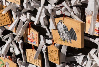 plaquette ema illustrée d'un aigle Japon