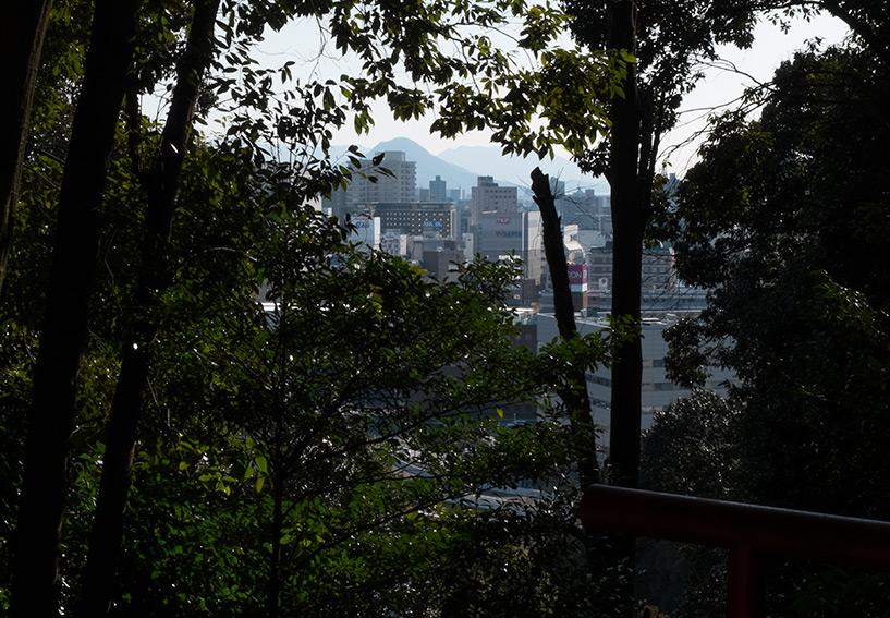 Vue sur la ville depuis la forêt du mont Futabayama Hiroshilma