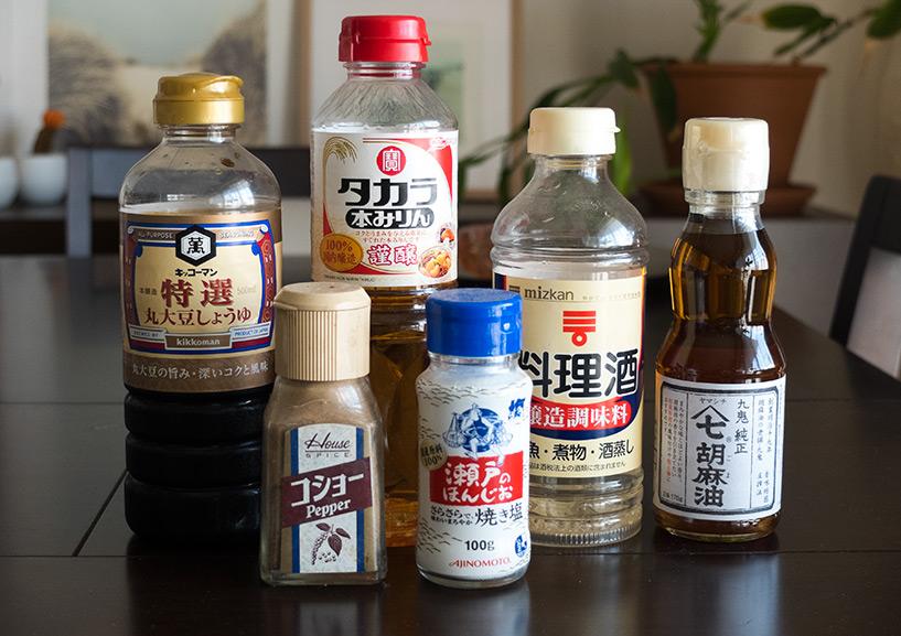 Condiments pour l'assaisonnement de la farce à gyoza