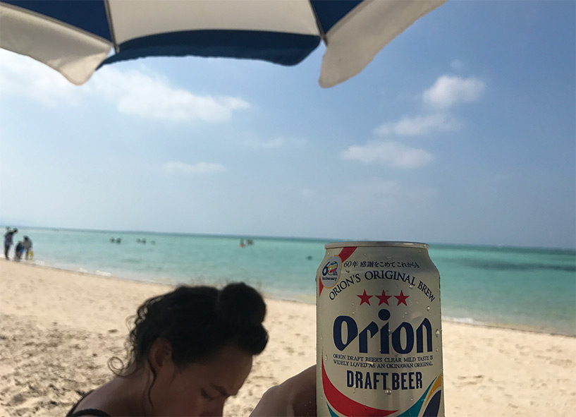 Orion beer sur Kondoi Beach, Taketomi-jima