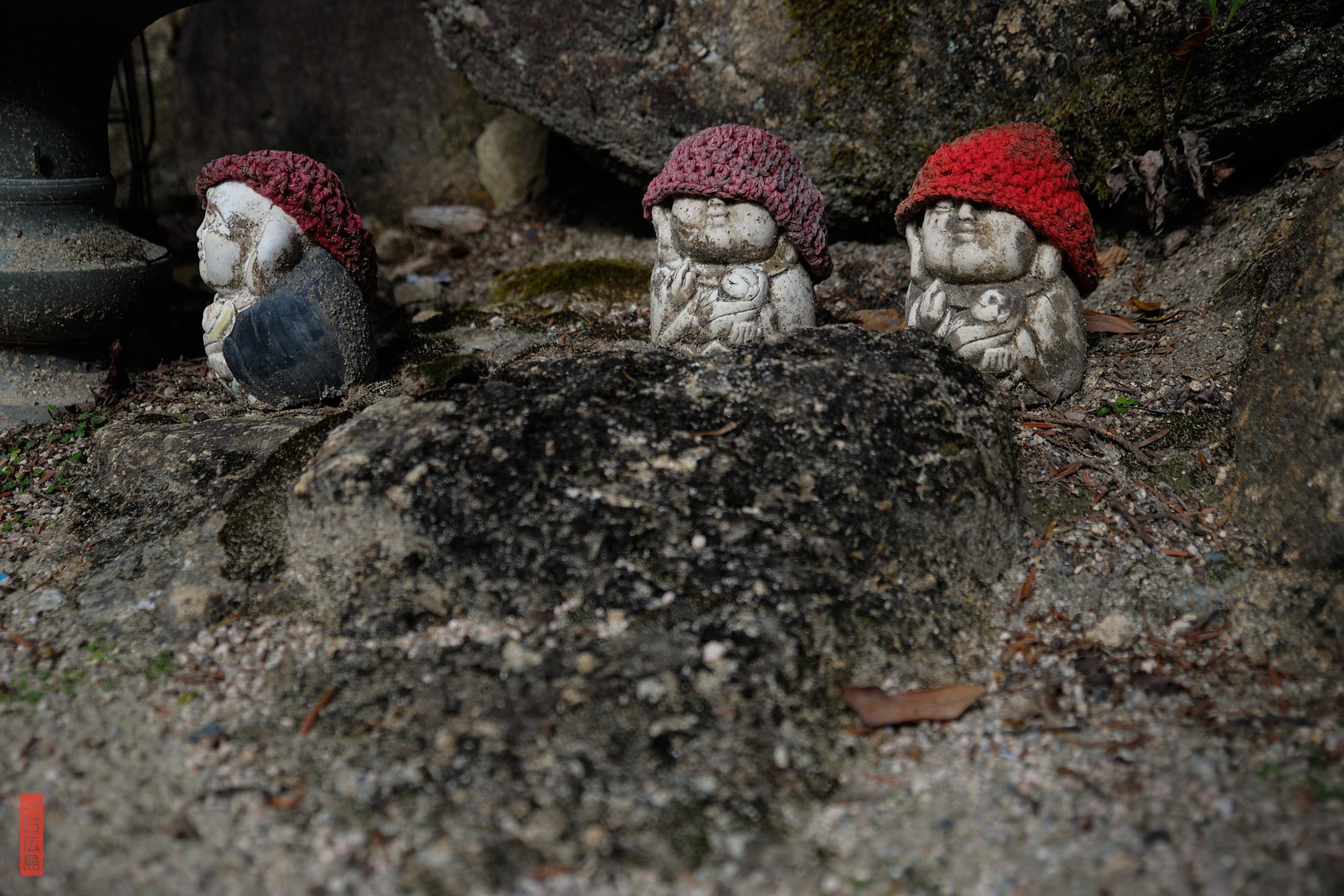 Petits jizo à bonnets, Mont Misen