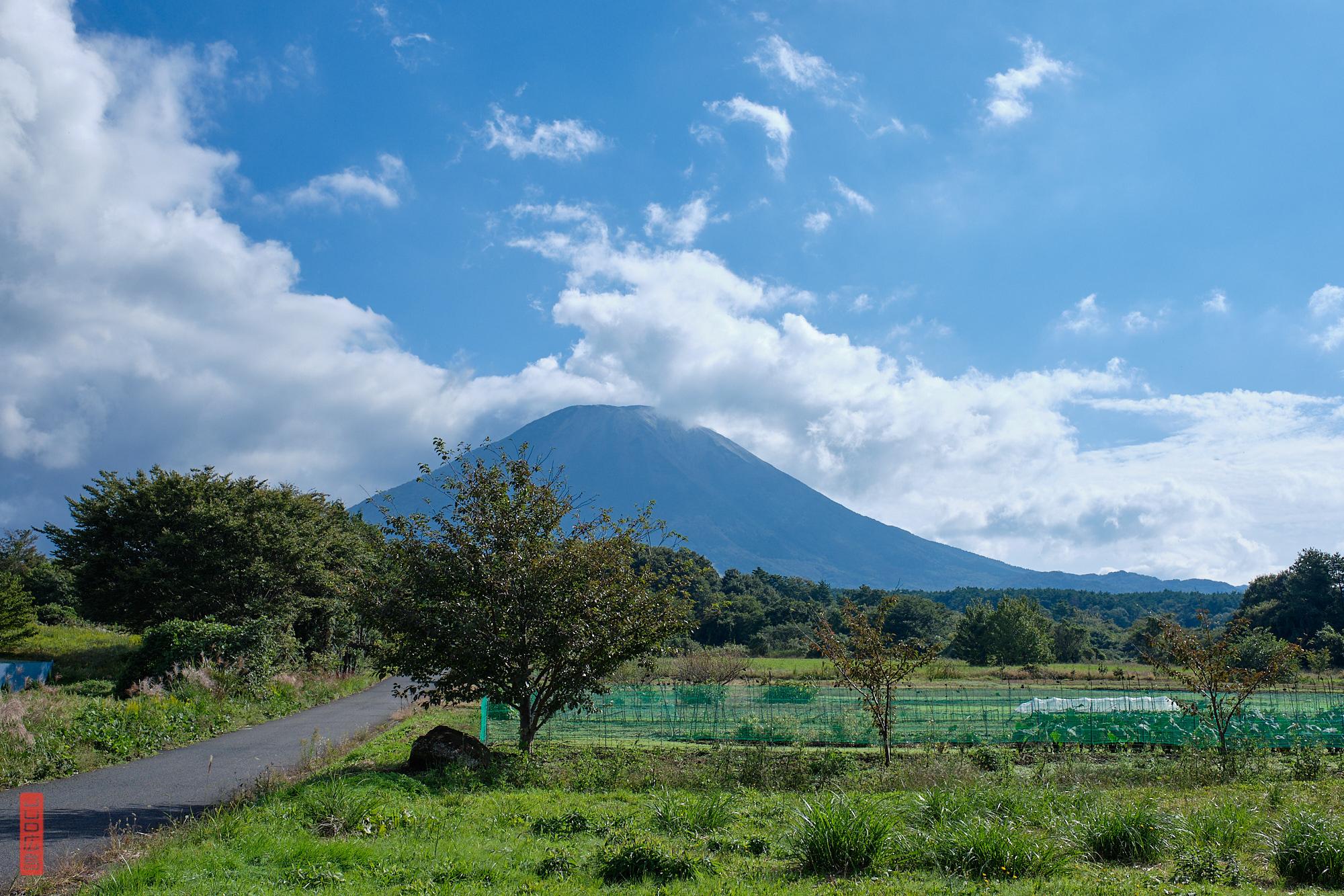 Mont Daisen vu de la plaine, préfecture de Tottori, Japon