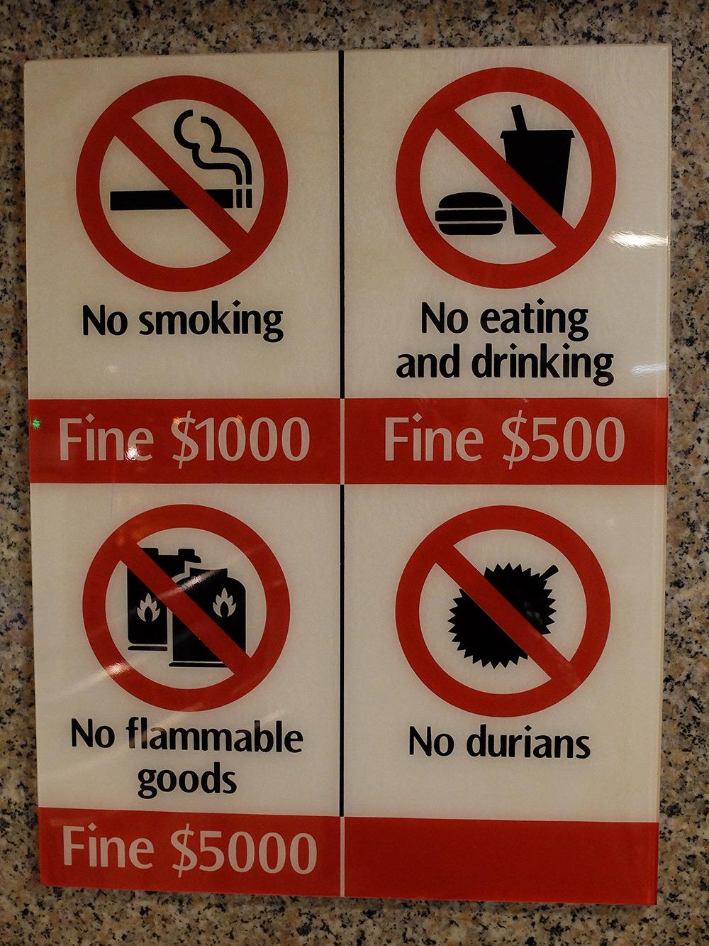 Métro de SIngapour, pancarte