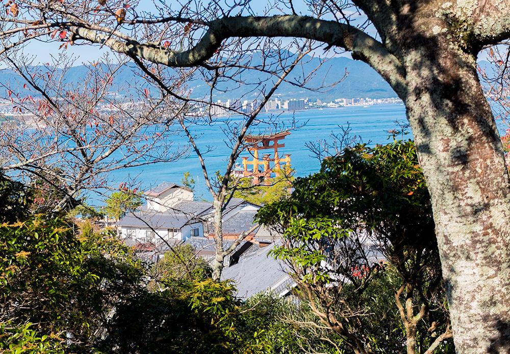 Vue sur le Torii depuis la pagode Tahōtō, Miyajima