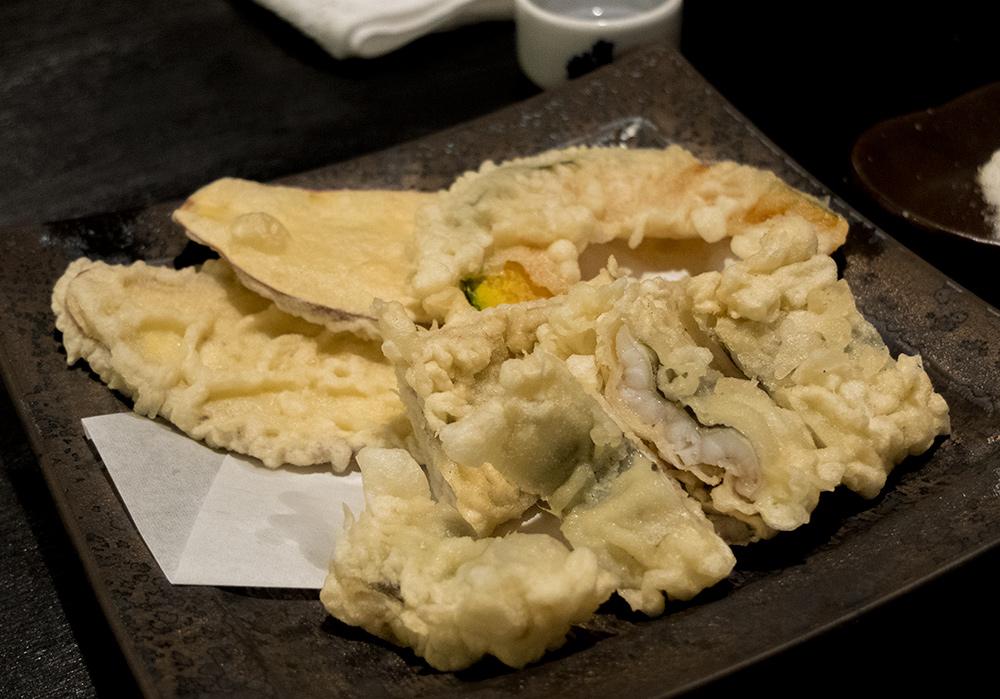 tempura d'anago (congre) et de kabocha (citrouille japonaise) dans l'izakaya Aitsuki あい月 Hiroshima