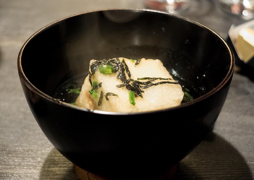Tofu chaud aux champignons (湯豆腐 yudōfu) - izakaya Aitsuki あい月 Hiroshima