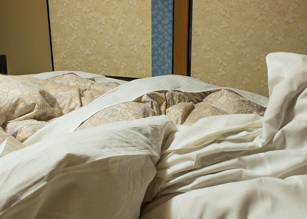 futon dans la chambre de ryokan