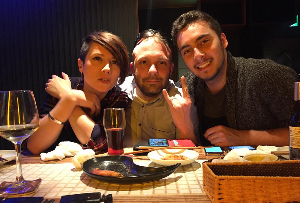 à La Maschera, Hiroshima, avec Yann (Hiroshima Safari) et Guillaume (Ichiban Japan)