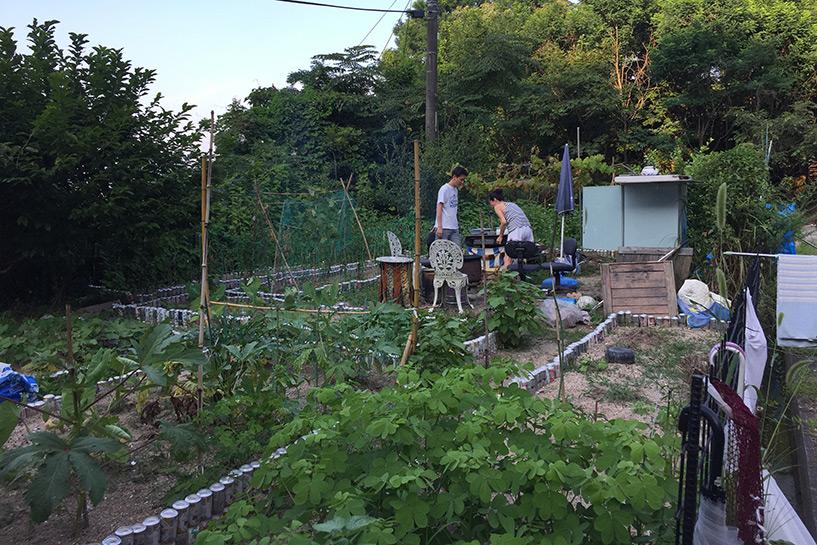 dans le jardin de la maman de Kotoe