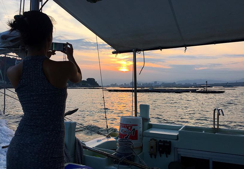 coucher de soleil sur Ujina, port d'Hiroshima