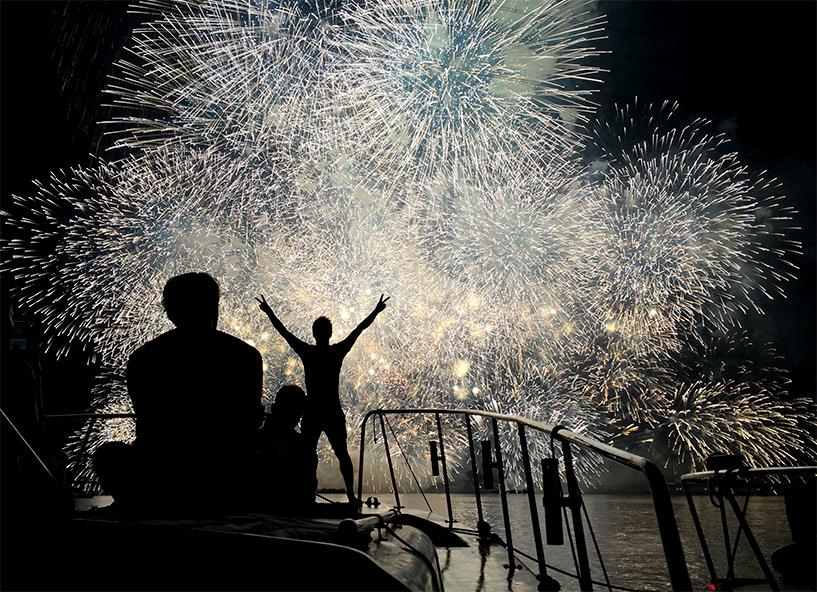 feux d'artifice d'Ujina 2016 en pleine mer Hiroshima