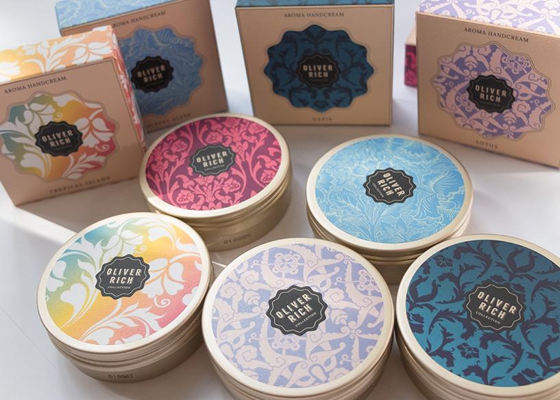 Design packaging crèmes pour les mains Oliver Rich