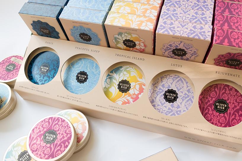 Design packaging et présentoir crèmes pour les mains Oliver Rich