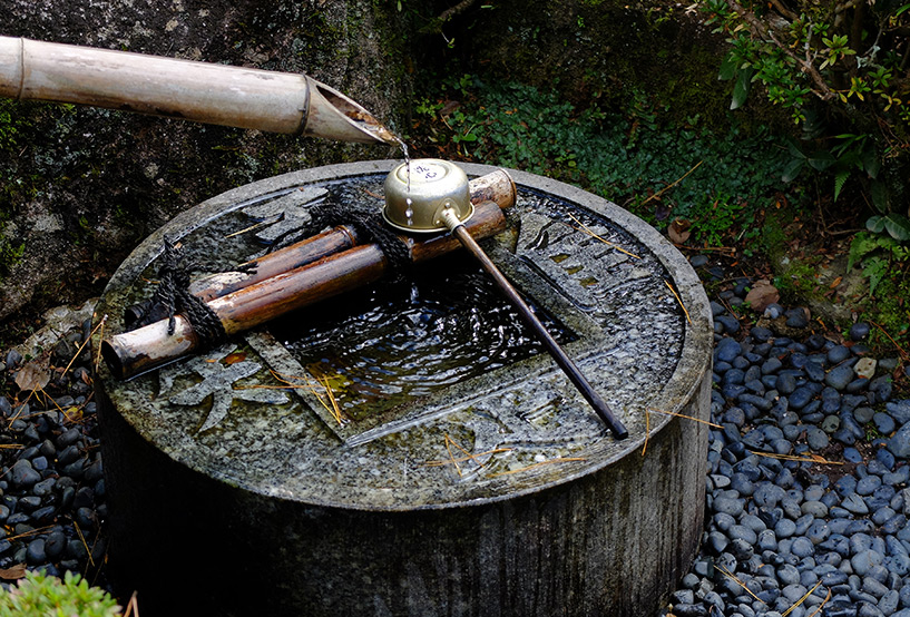 chozuya ou temizuya au temple Ruriko-ji Yamaguchi