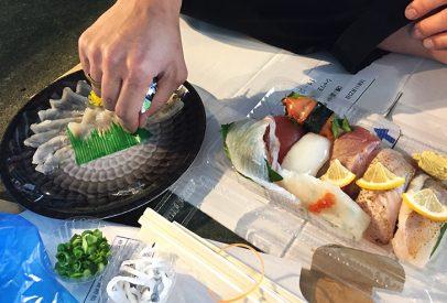 sushi et fugu au marché Karato