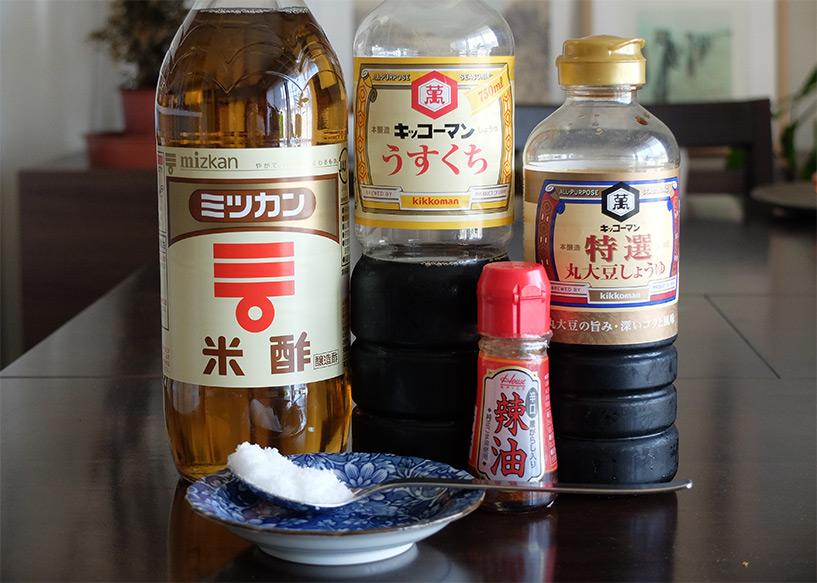 """Ingrédients pour la sauce """"tare"""" à gyoza"""
