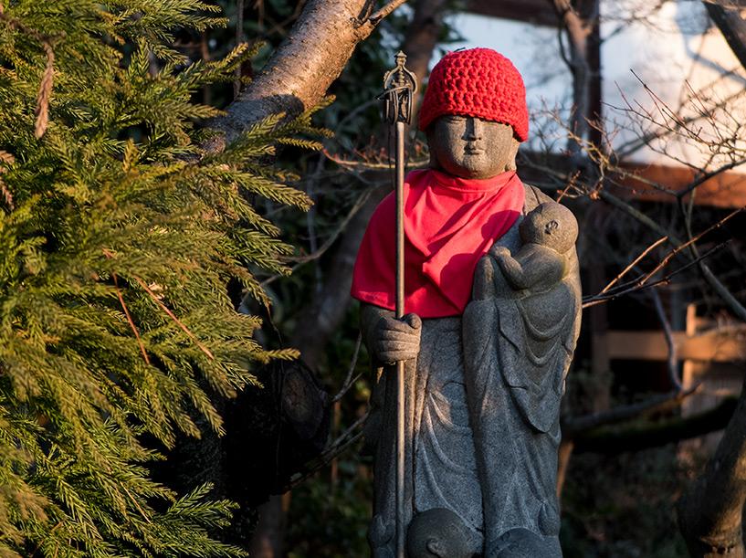 statue jizō qui ressemble à Trump, temple Fudō-in, Hiroshima