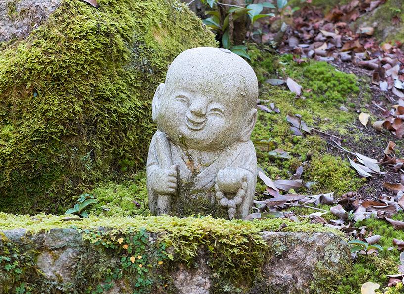 Statue de jizo près du temple Diasho-in, Miyajima