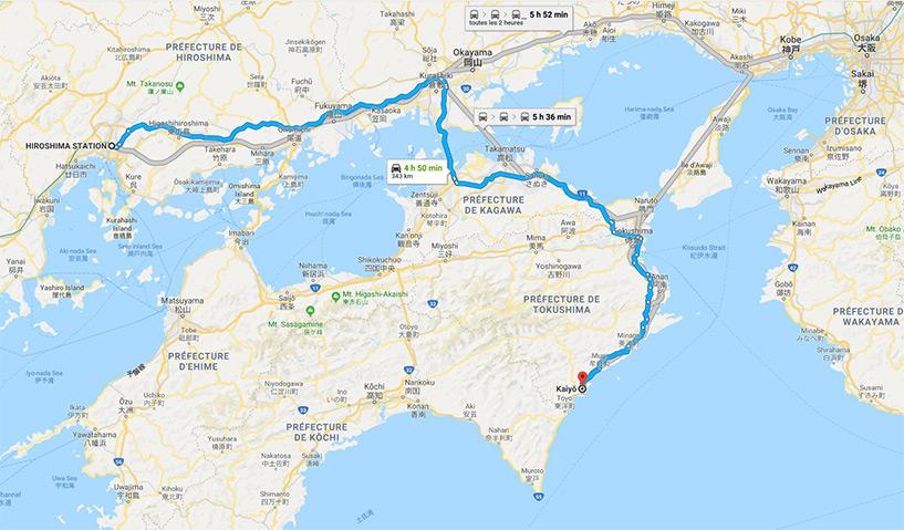 Trajet Hiroshima Kayo, Kaifu, Tokushima, Shikoku en voiture